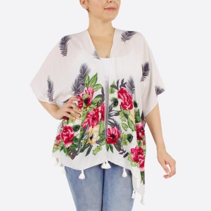 """Women's lightweight tropical floral short kimono with tassels.  - One size fits most 0-14 - Approximately 25"""" L - 100% Polyester"""