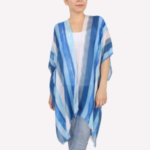 """Women's lightweight distressed stripe kimono.  - One size fits most 0-14 - Approximately 37"""" L - 100% Polyester"""