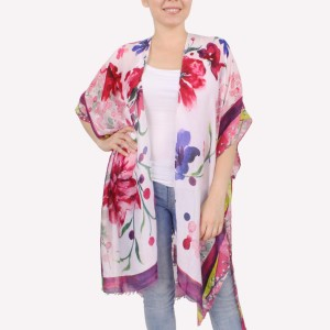 """Women's Lightweight Watercolor Floral Kimono.  - One size fits most 0-14 - Approximately 30"""" L - 100% Polyester"""