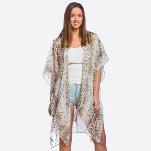 "Women's Lightweight Sheer Snakeskin Kimono with Silver Metallic Accents.  - One size fits most 0-14 - Approximately 37"" L  - 100% Polyester"