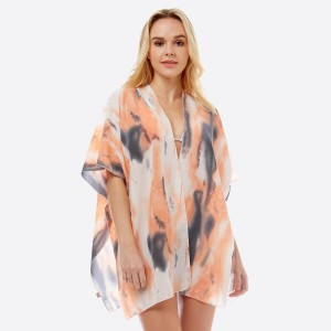 "Women's Lightweight Watercolor Tie-Dye Kimono.  - One size fits most 0-14 - Approximately 29"" L - 100% Polyester"