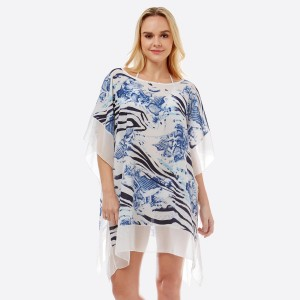 """Women's Lightweight Sheer Multi Animal Print Cover Up Top.  - One size fits most 0-14 - Approximately 31"""" L - 100% Polyester"""