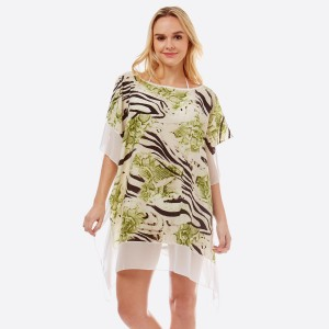 "Women's Lightweight Sheer Multi Animal Print Cover Up Top.  - One size fits most 0-14 - Approximately 31"" L - 100% Polyester"