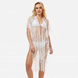 """Women's lightweight lace fringe tassel kimono.  - One size fits most 0-14 - Approximately 42"""" L - 100% Polyester"""