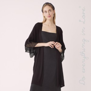 "Do everything in Love Brand Lightweight Crochet Ruffle Sleeve Kimono.  - One size fits most 0-14 - Approximately 34"" L - 100% Viscose"