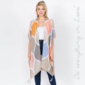 """Do everything in Love brand women's lightweight geometric tassel kimono.  - One size fits most 0-14 - Approximately 35"""" L - 100% Polyester"""