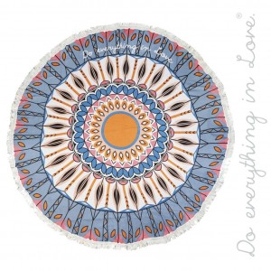 "Do everything in Love brand lightweight geometric floral beach roundie/throw with fringe tassel trim.  - Approximately 65"" in diameter - 100% Viscose"