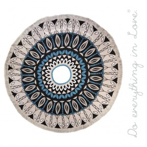 """Do everything in Love brand lightweight geometric floral beach roundie/throw with fringe tassel trim.  - Approximately 65"""" in diameter - 100% Viscose"""