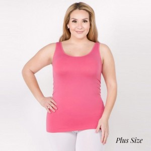 "Women's Plus Size Solid Color Seamless Tank Top.  • Round Neckline • Body-con • Sleeveless • Fitted • Solid Color • Super Soft • Stretchy  - One size fits most plus 16-22 - Approximately 22"" L  - 92% Nylon / 8% Spandex"