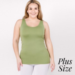 """Women's Plus Size Solid Color Seamless Tank Top.  • Round Neckline • Body-con • Sleeveless • Fitted • Solid Color • Super Soft • Stretchy  - One size fits most plus 16-22 - Approximately 22"""" L  - 92% Nylon / 8% Spandex"""