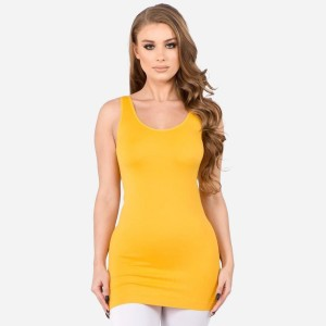 """Women's Solid Color Seamless Tank Top.  • Round Neckline • Body-con • Sleeveless • Fitted • Solid Color • Super Soft • Stretchy  - One size fits most 0-14 - Approximately 22"""" L - 92% Nylon, 8% Spandex"""