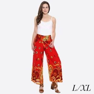 "Women's Geometric Paisley Print Palazzo Pants.  - 4"" Elastic Waistband - Size: L/XL - Inseam approximately - 100% Viscose"