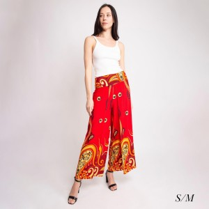 "Women's Geometric Paisley Print Palazzo Pants.  - 4"" Elastic Waistband - Size: S/M - Inseam approximately 27"" L - 100% Viscose"