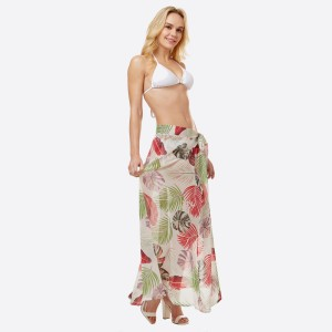 """Women's lightweight sheer tropical leaf print beach skirt sarong.  - One size fits most 0-14 - Approximately 40"""" L - 100% Polyester"""