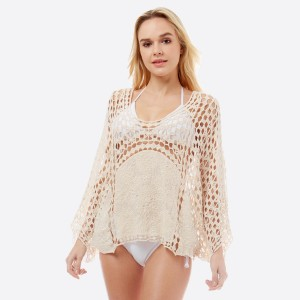 """Women's lightweight crochet cover up top.  - One size fits most 0-14 - Approximately 21"""" L - 100% Cotton"""