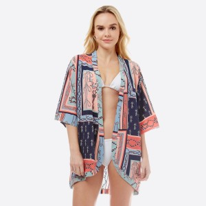 """Women's lightweight short sleeve Nautical anchor print kimono.  - One size fits most 0-14 - Approximately 33"""" L - 100% Polyester"""