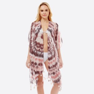 "Women's Lightweight Sheer Tie-Dye Tassel Kimono.  - One size fits most 0-14 - Approximately 36"" L - 70% Polyester, 30% Cotton"