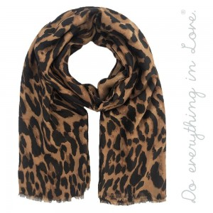 """Do everything in Love brand lightweight leopard print scarf.  - Approximately 34"""" W x 70"""" L - 100% Polyester"""