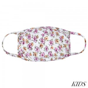 KIDS Reusable Floral Blossom Print T-Shirt Cloth Face Mask.  - Machine Wash in Cold - Mild Detergent - Lay Flat to Dry - Do Not Bleach - Reusable Face Mask - These Mask have NO Filter - One Size Fits Most KIDS (AGES 5-11 years) - Exterior Material: 95% Polyester / 5% Spandex - Interior Material: Cotton Blend in Ivory or White  These Masks Are Not For Professional Use and Not Medically Rated. These Masks Have No Proven Effectiveness Against Any Viruses.