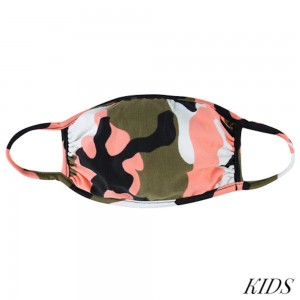 KIDS Reusable Camouflage T-Shirt Cloth Face Mask.  - Machine Wash in Cold - Mild Detergent - Lay Flat to Dry - Do Not Bleach - Reusable Face Mask - These Mask have NO Filter - One Size Fits Most KIDS (AGES 5-11 years) - Exterior Material: 95% Polyester / 5% Spandex - Interior Material: Cotton Blend in Ivory or White  These Masks Are Not For Professional Use and Not Medically Rated. These Masks Have No Proven Effectiveness Against Any Viruses.