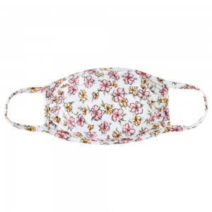 Reusable Floral Blossom Print T-Shirt Cloth Face Mask.  - Machine Wash in Cold - Mild Detergent - Lay Flat to Dry - Do Not Bleach - Reusable Face Mask - These Mask have NO Filter - One Size Fits Most Adults - Exterior Material: 95% Polyester / 5% Spandex - Interior Material: Cotton Blend in Ivory or White  These Masks Are Not For Professional Use and Not Medically Rated. These Masks Have No Proven Effectiveness Against Any Viruses.