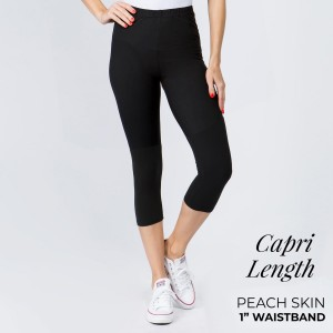 "New Mix Brand Solid Black Peach Skin Capri Leggings.  - 1"" Elastic Waistband - Inseam approximately 18"" L - 92% Polyester / 8% Spandex"