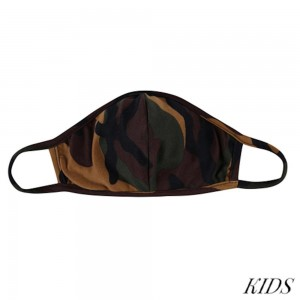 KIDS Reusable Camouflage T-Shirt Cloth Face Mask with Seam.  - Machine Wash in Cold - Mild Detergent - Lay Flat to Dry - Do Not Bleach - Reusable Face Mask - These Mask have NO Filter - One Size Fits Most KIDS (AGES 5-11 years) - Exterior Material: 95% Polyester / 5% Spandex - Interior Material: Cotton Blend in Ivory or White  These Masks Are Not For Professional Use and Not Medically Rated. These Masks Have No Proven Effectiveness Against Any Viruses.