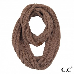 C.C INF-821 Solid Ribbed Knit Infinity Scarf.  - One size - 100% Acrylic