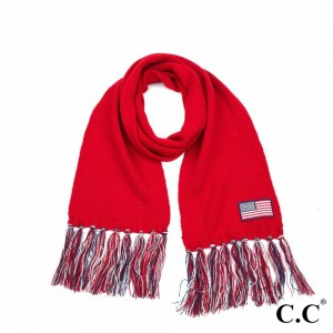 """C.C SF-2063 Knitted USA Flag Scarf Featuring Fringe Tassels.  - Approximately 76"""" L x 9.5"""" W + Fringe: 6""""  - 100% Acrylic"""