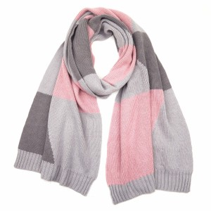"""C.C SF-2065 Color Block Knit Scarf.  - Approximately 76"""" L x 14"""" W  - 47% Rayon / 31% PBT / 22% Nylon"""