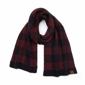 "C.C SF-7000 Buffalo Check Jacquard Knit Scarf.  - Approximately 72"" L x 11.5"" W  - 100% Polyester"