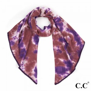 "C.C SF-7380 Tie-Dye Bias Cut Scarf Featuring C.C Brand Rubber Patch   - Approximately 91"" L x 16.5"" W  - 52% Viscose / 28% Polyester / 20% Nylon"