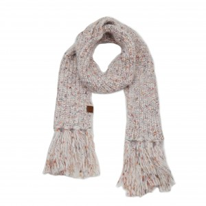 """C.C SF-7385 Multicolor Feather Yarn Knit Scarf Featuring Fringe Tassels.  - Approximately 72"""" L x 9"""" W Fringe: 6"""""""