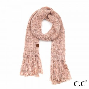 "C.C SF-7385 Multicolor Feather Yarn Knit Scarf Featuring Fringe Tassels.  - Approximately 72"" L x 9"" W Fringe: 6"""