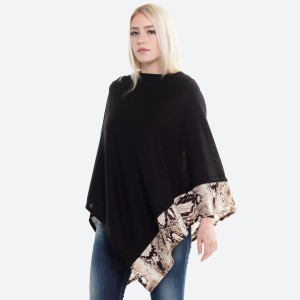 """Women's Lightweight Black Knit Poncho Featuring Snakeskin Trim Detail.  - One size fits most 0-14 - Approximately 37"""" L  - 100% Acrylic"""