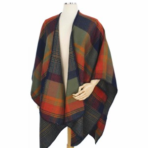 """Fall/Winter Reversible Plaid Cape/Ruana.  - One size fits most 0-14 - Approximately 35"""" L  - 100% Acrylic"""