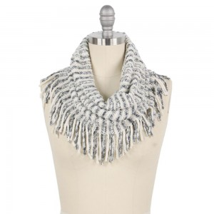 """Multi Tone Mix Knit Tube Scarf with Tassels.  - Approximately 11"""" W x 20"""" L + Tassel 3"""" - 100% Polyester"""