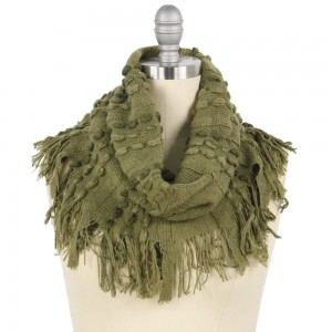 "Stitch Knit Tube Scarf Featuring Fringe Tassels.  - Approximately 11.5"" W x 20.5"" L + Tassel 3"" - 100% Polyester"