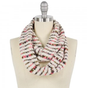 """Multicolor Yarn Knit Infinity Scarf.  - Approximately 13"""" W x 27"""" L - 100% Polyester"""