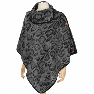"""Animal Print Coconut Button Poncho.  - One size fits most  - Approximately 34"""" L  - 100% Polyester"""