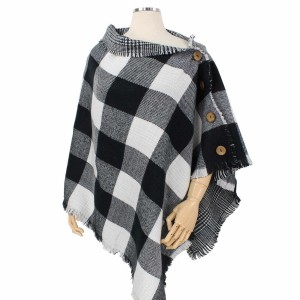 Reversible Buffalo Check Poncho Featuring Coconut Button Details.  - One size fits most 0-14 - 100% Acrylic