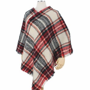 """Fall/Winter Plaid Woven Poncho.  - One size fits most 0-14 - Approximately 33"""" L  - 100% Polyester"""