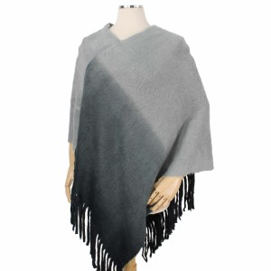 """Ombre Knit Poncho Featuring Fringe Tassels.  - One size fits most 0-14 - Approximately 33"""" L - 100% Acrylic"""