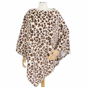 """Faux Fur Leopard Print Poncho.  - One size fits most - Approximately 34"""" L - 100% Polyester"""