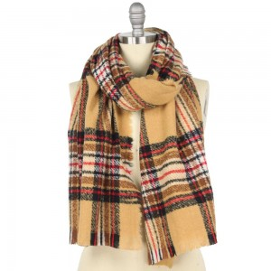 """Fleece Plaid Oblong Scarf.  - Approximately 25"""" W x 74"""" L - 100% Polyester"""