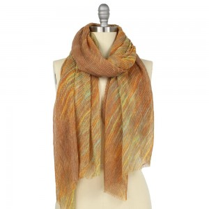 """Lightweight Lurex Pleated Abstract Print Scarf.  - Approximately 25"""" W x 70"""" L - 100% Polyester"""