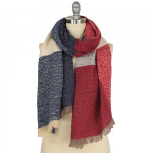 """Heavyweight Color Block Scarf Featuring Frayed Trim.  - Approximately 27"""" W x 70"""" L  - 100% Polyester"""