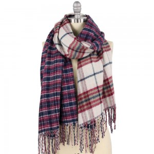 """Double Plaid Mix Oblong Scarf Featuring Fringe Tassels.  - Approximately 23"""" W x 78"""" L + Fringe 4"""" - 100% Polyester"""