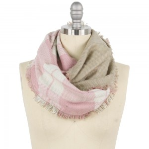 """Reversible Double Plaid Mix Infinity Scarf Featuring Frayed Trim.  - Approximately 15"""" W x 31"""" L - 100% Polyester"""