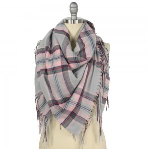 "Plaid Square Blanket Scarf Featuring Fringe Trim.  - Approximately 51"" W x 51"" L  - Fringe Tassels 3.75"" L  - 100% Polyester"